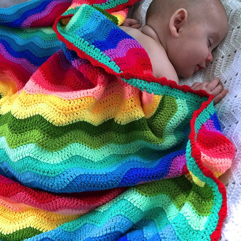 Crochet Baby Blanket | Handmade Rainbow Ripple | Babies Decor Range O.B. Designs