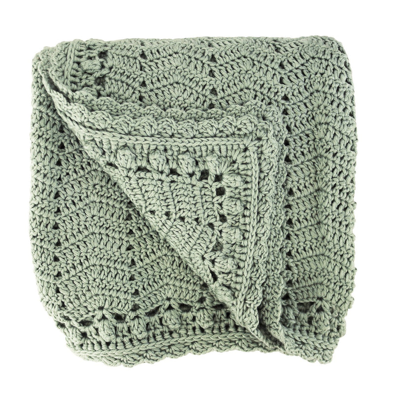 sage crochet baby blanket, ethically made, 90 X 90CM (36 x 36in) / 60% COTTON, 30% MILK FIBER, 10% CASHMERE Hand Wash Recommended. Gift Box included.