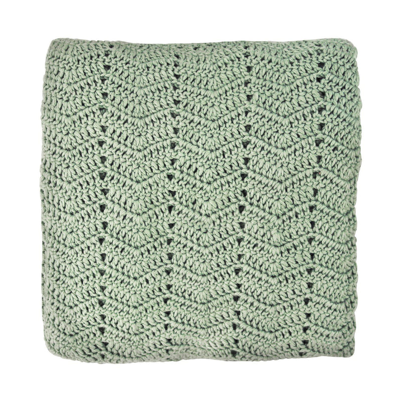 sage crochet baby blanket, ethically made, 90 X 90CM (36 x 36in) / 60% COTTON, 30% MILK FIBER, 10% CASHMERE Hand Wash Recommended. Gift Box included. OB Designs