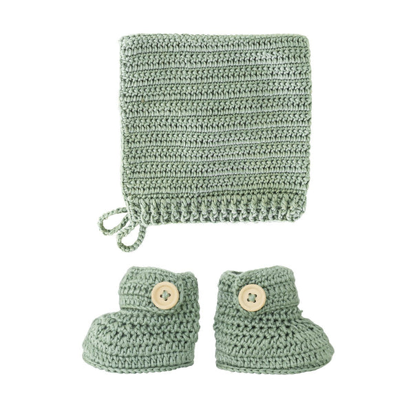 Stylish Crochet Bonnet & Bootie Set Handmade (Sage colour) from 100% natural materials 60% COTTON, 30% MILK FIBER, 10% CASHMERE .