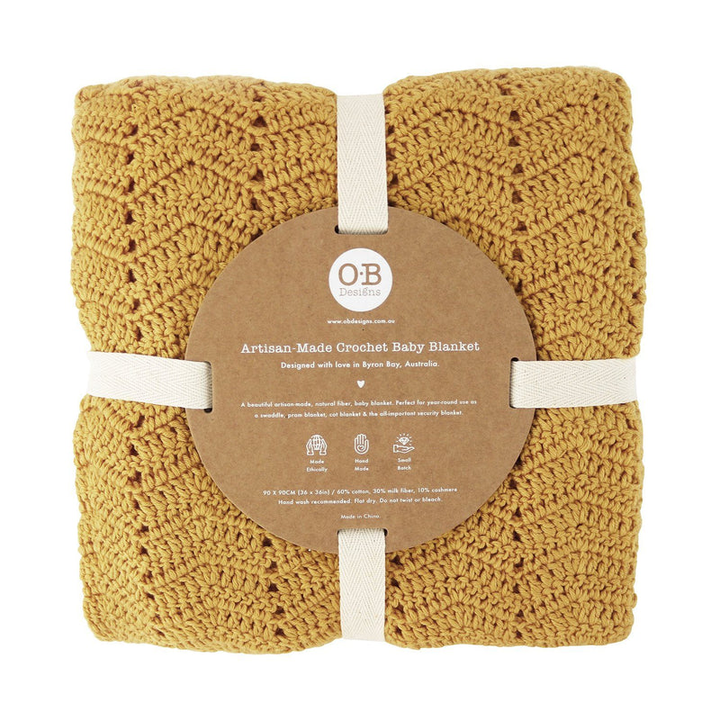 Turmeric crochet baby blanket, ethically made, 90 X 90CM (36 x 36in) / 60% COTTON, 30% MILK FIBER, 10% CASHMERE Hand Wash Recommended. Gift Box included. OB Designs