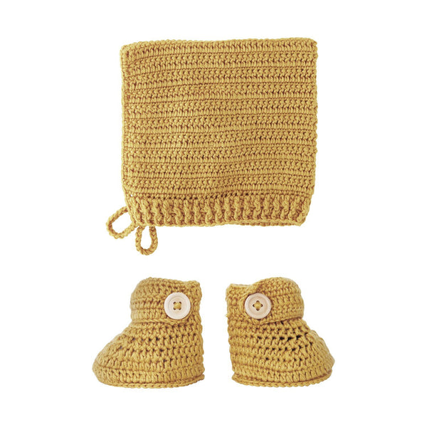 Crochet Bonnet & Bootie Set Handmade (Turmeric colour) from 100% natural materials 60% COTTON, 30% MILK FIBER, 10% CASHMERE .