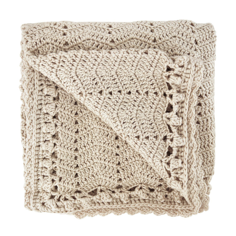 Vanilla crochet baby blanket, ethically made, 90 X 90CM (36 x 36in) / 60% COTTON, 30% MILK FIBER, 10% CASHMERE Hand Wash Recommended. Gift Box included. OB Designs