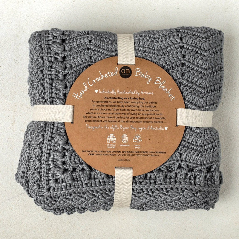 Hand Crochet Grey Baby Blanket Decor Range O.B. Designs