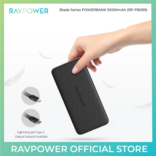 Blade Series Portable Charger with Built-in-Cable (RP-PB099) - 10000mAh