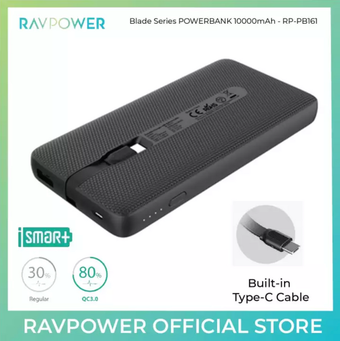 RAVPower Portable Charger with Built-in Cable -  RP-PB161 (10000mAh) - ICONS