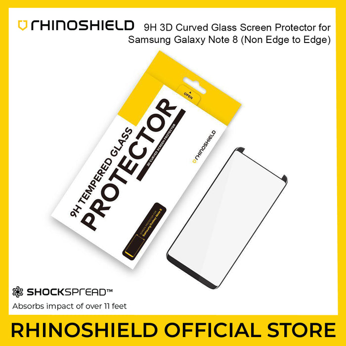RhinoShield 9H 3D Curved Glass Screen Protector for Galaxy Note 8 * Non Edge to Edge