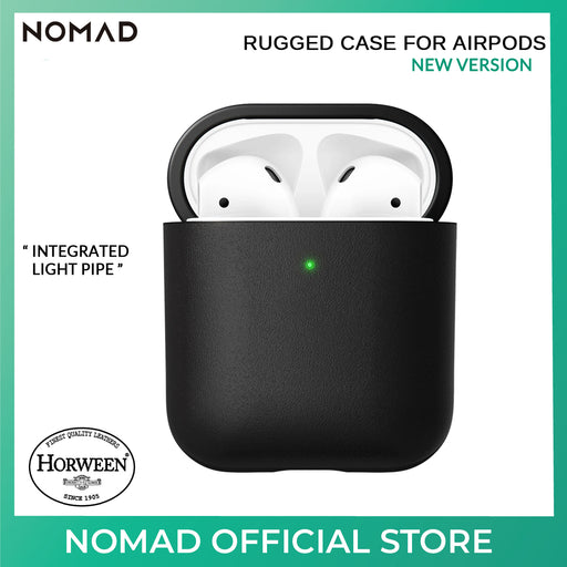 Nomad Rugged (Leather) Wireless Charging Case for Apple Airpods