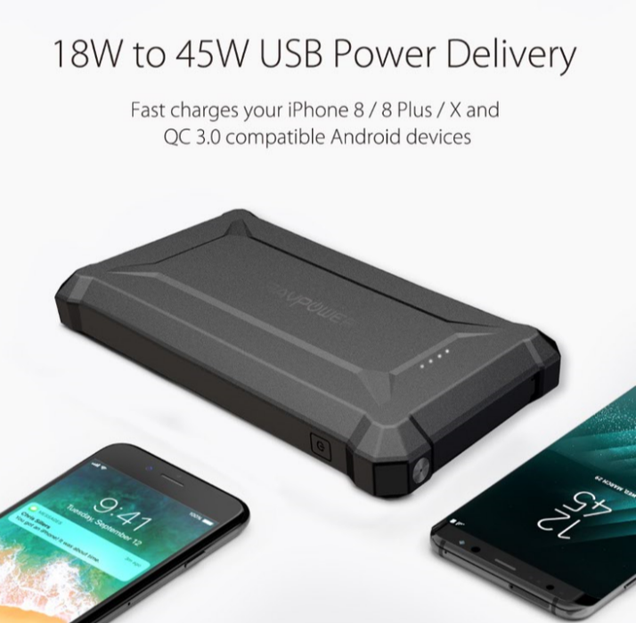 RAVPower Waterproof Power Bank - 10050mAh PD 18W+QC3.0 - (RP-PB096)