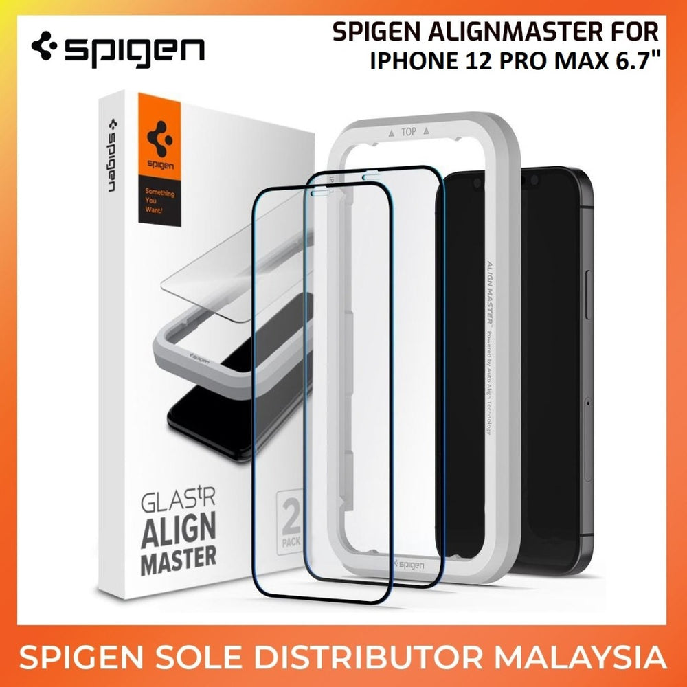 Spigen Glass Protector AlignMaster FC Black (2pack) for Apple iPhone 12 Pro Max 6.7""