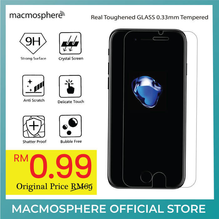 Macmosphere 0.33mm GLASS Screen Protector (Rounded Edge) for Apple iPhone 7/8 / iPhone SE 2020 - ICONS