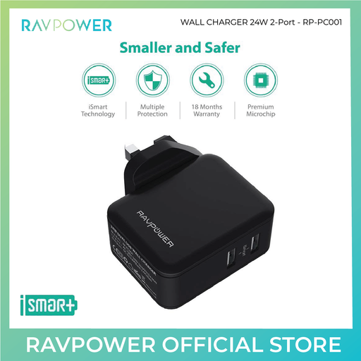 24W Dual USB Wall Charger Travel Adapter - RP-PC001