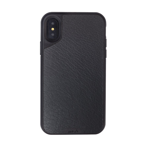 Real Black Leather Case for Apple iPhone X