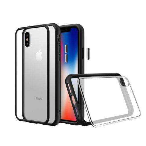 RhinoShield Mod NX Case for Apple iPhone XS / X (with Rim, Button, Frame, Clear Blk Plate) - ICONS