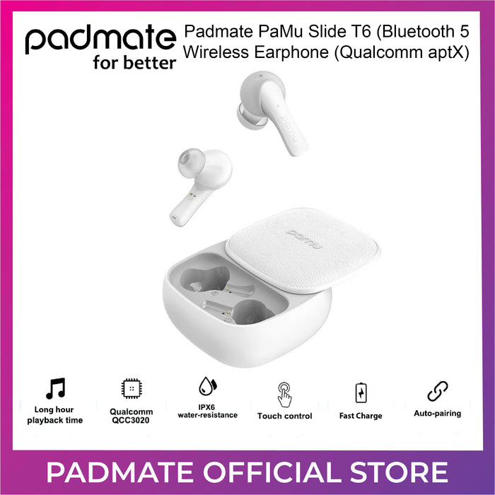 Padmate PaMu Slide T6 (Bluetooth 5 Wireless Earphone (Qualcomm aptX)