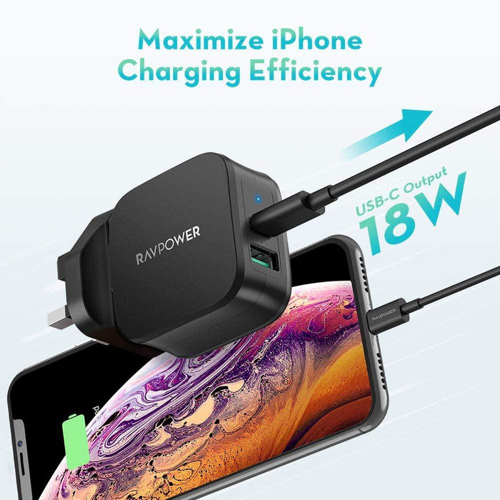 RAVPower RP-PC108 Portwall Charger 18WPD & 2.4A USB With MFI Type-C to Lightning Cable Combo