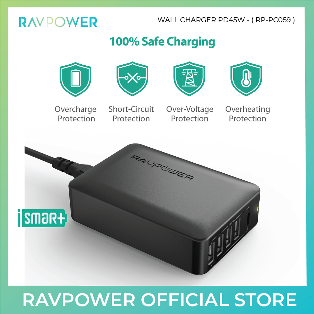 RAVPower 60W USB C Power Delivery Wall Charger - RP-PC059 - ICONS