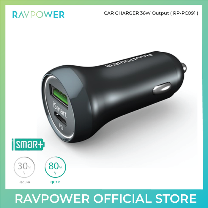RAVPower Car Charger - 36W Output - ICONS