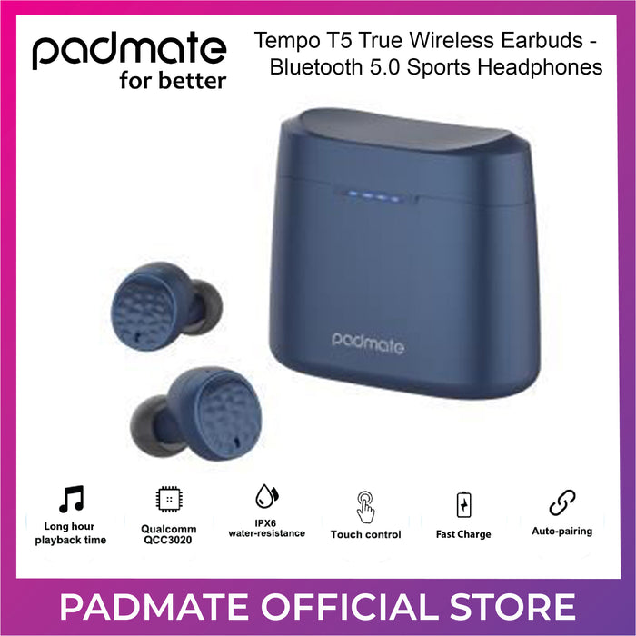 Padmate Tempo T5 True Wireless Earbuds Bluetooth 5.0 Sports Headphones