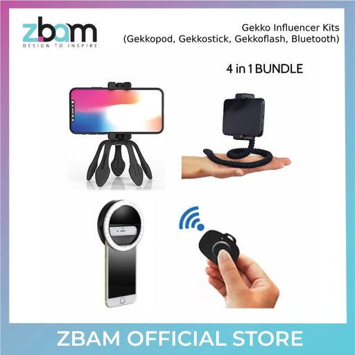 ZBAM Gekko Influencer Kits ( Gekkopod, Gekkostick, Gekkoflash, Bluetooth)