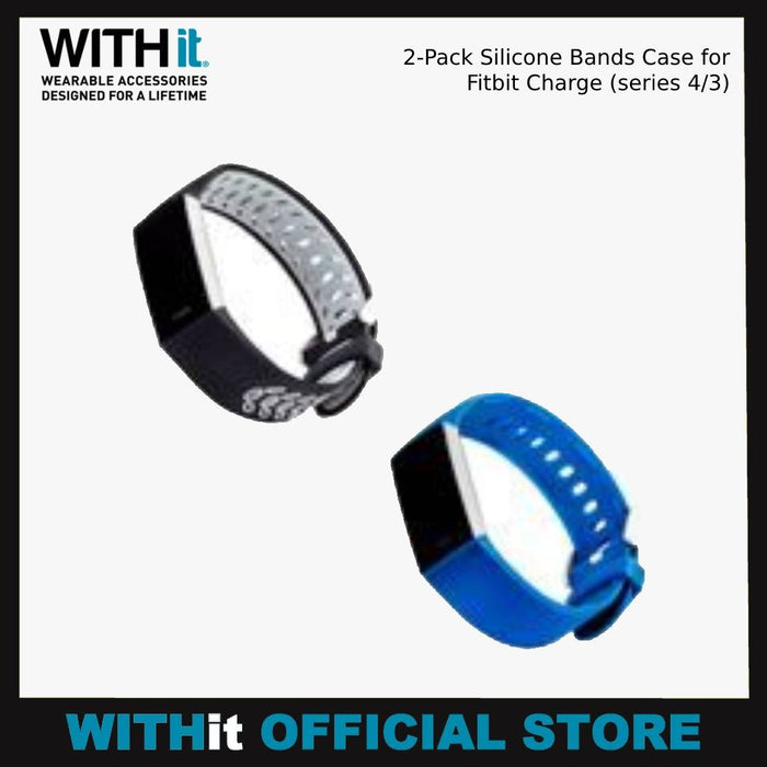 WITHit 2-Pack Silicone Bands Case for Fitbit Charge (series 4/3)