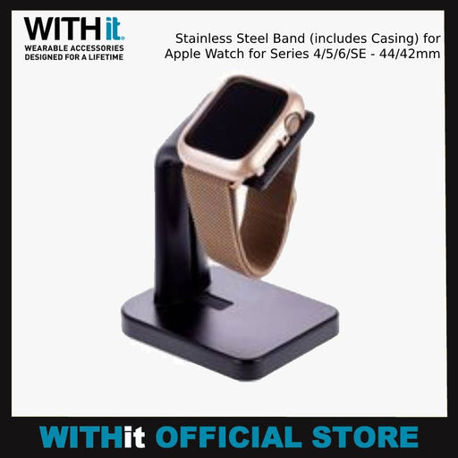 WITHit Stainless Steel Band (includes Casing) for Apple Watch for Series 4/5/6/SE - 44/42mm