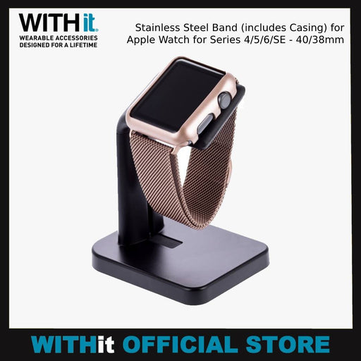 WITHit Stainless Steel Band (includes Casing) for Apple Watch for Series 4/5/6/SE - 40/38mm