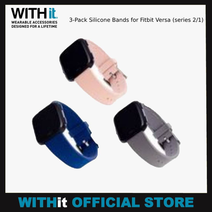 WITHit 3-Pack Silicone Bands for Fitbit Versa (series 2/1)