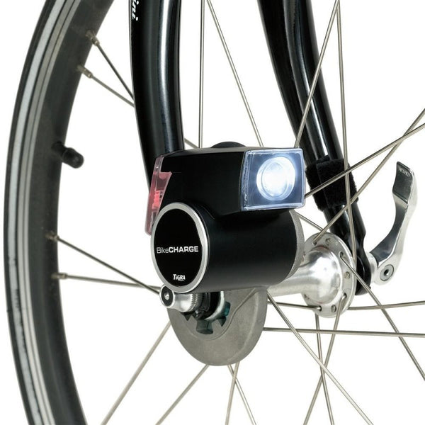 Bike Charge Dynamo, USB Power Generator with Lights and Battery