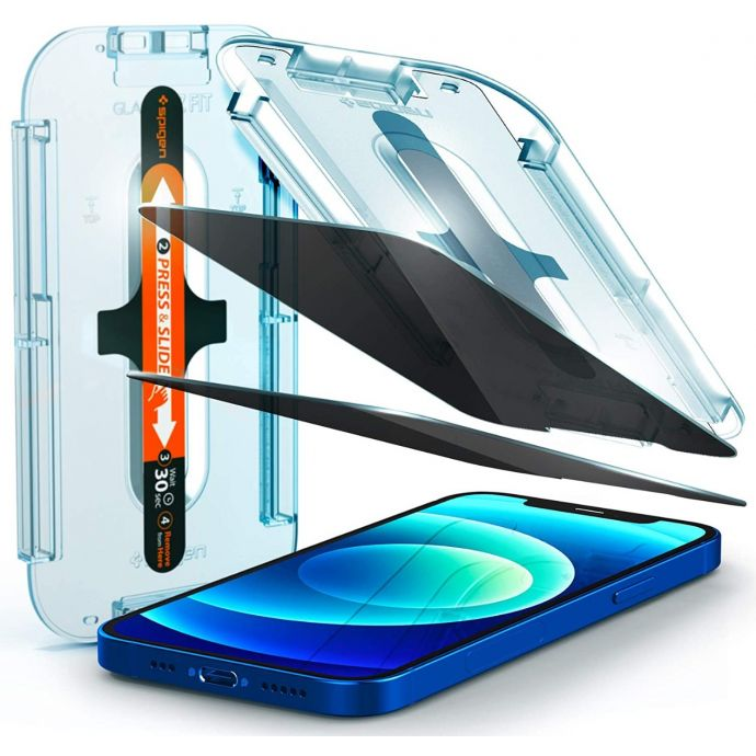 Spigen Privacy Glas.tR EZ Fit Screen Protector for Apple iPhone 12 Pro Max - 6.7""