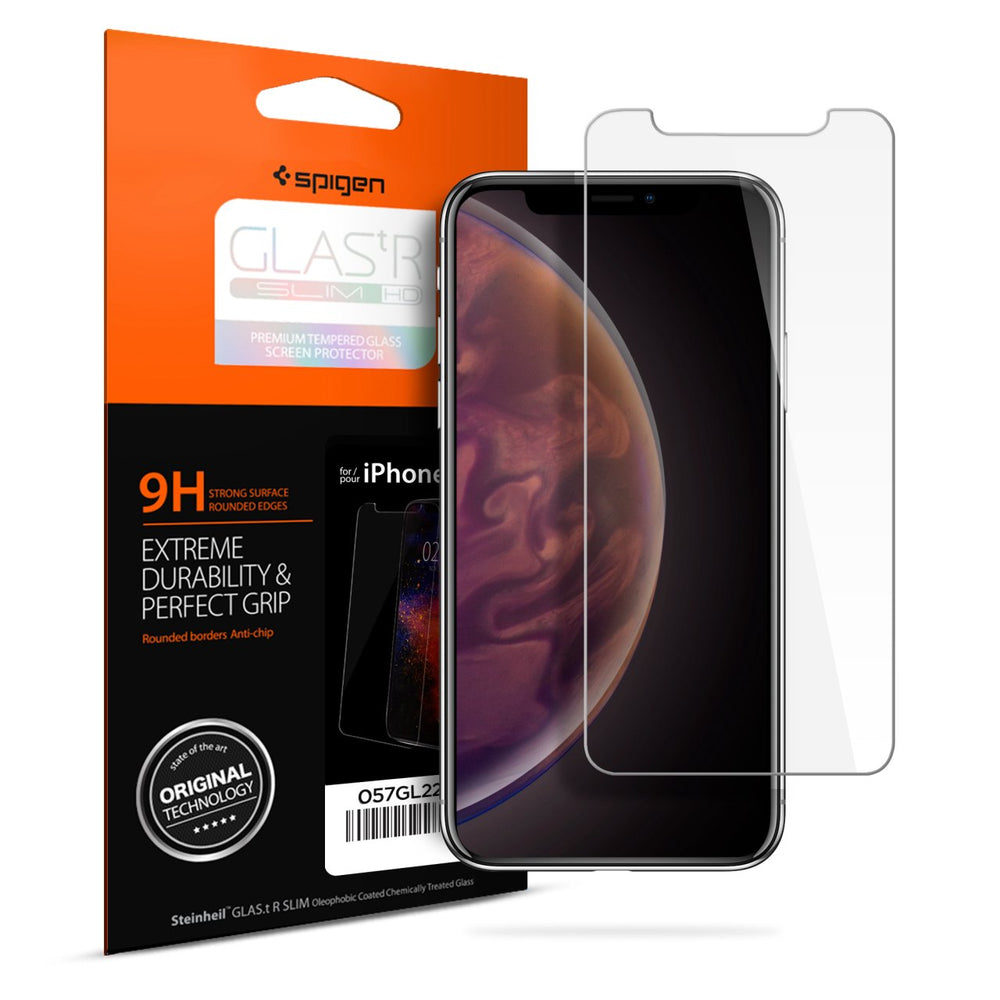Spigen Glast.r Slim Premium Tempered Glass Screen Protector for Apple iPhone XS Max - ICONS