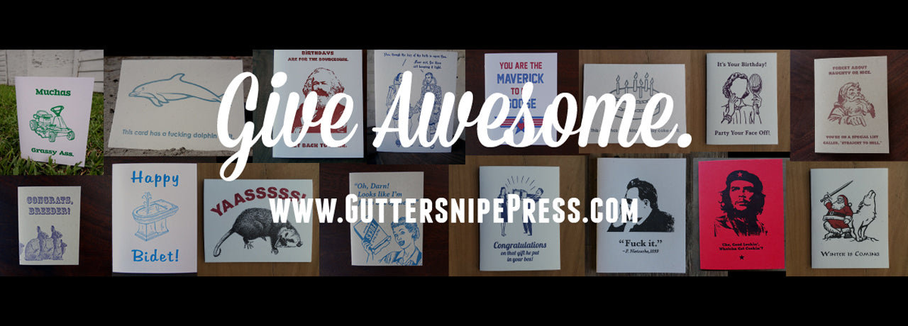 Hand Printed Letterpress Greeting Cards by Guttersnipe Press! Click to shop now!