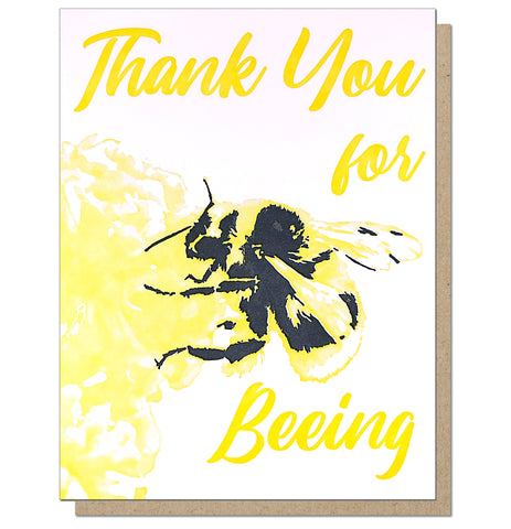 Thank you for Beeing - Romantic Letterpress Love Greeting Card