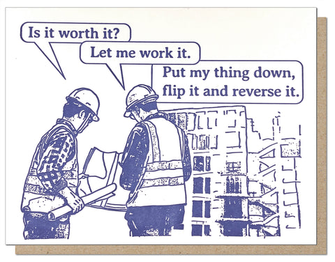 Construction Work It. Hip Hop Lyrics Letterpress Greeting Card.