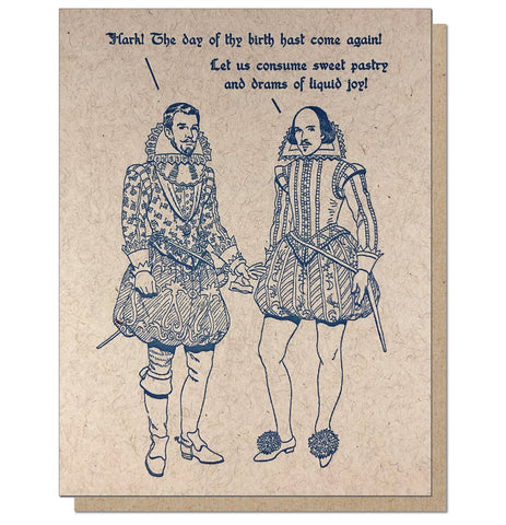 Sweet Pastry and Drams of Liquid Joy - Shakespeare Birthday Card