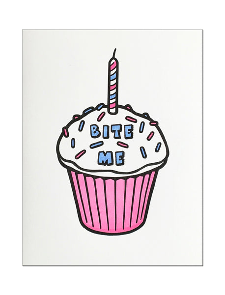 Bite Me Cupcake. Letterpress Birthday Card.