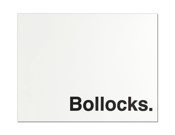 Bollocks. Letterpress Everyday Card.