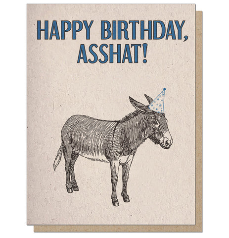 Happy Birthday Asshat Letterpress Birthday Card