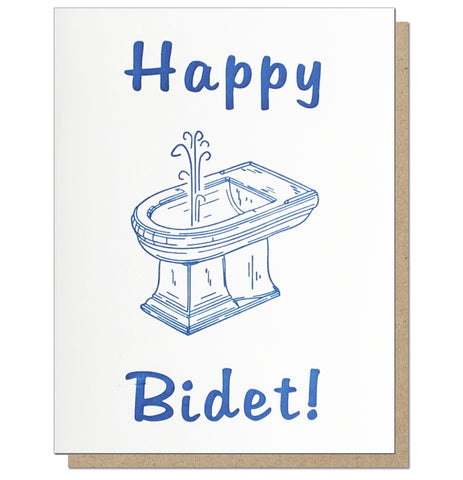 Happy Bidet! Letterpress Card.