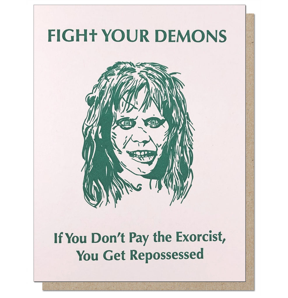 Fight Your Demons Letterpress Greeting Card