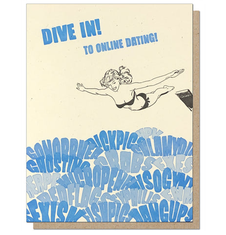 Dive In to Online Dating Funny Letterpress Greeting Card