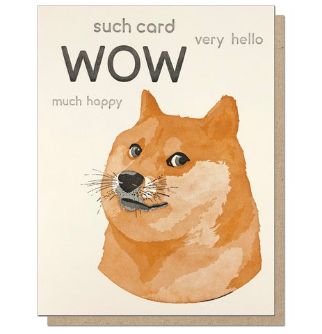 Dogecard! Letterpress Greeting Card