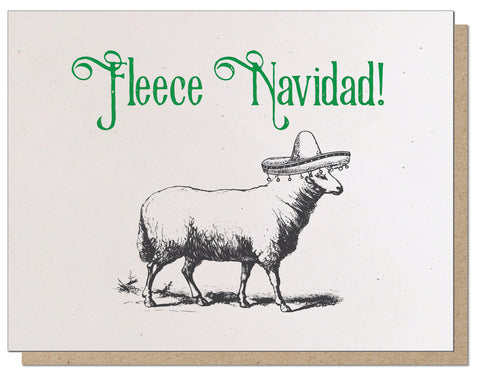 Fleece Navidad! Absurd Letterpress Holiday Card!