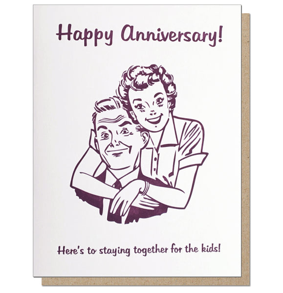 For The Kids. Anniversary Letterpress Card.