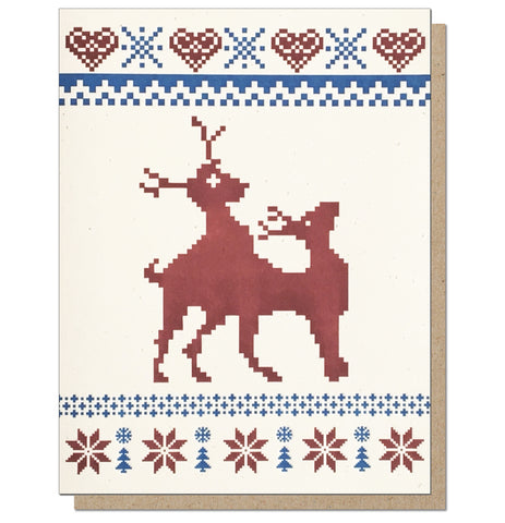 Frisky Reindeer Ugly Sweater Letterpress Holiday Card.