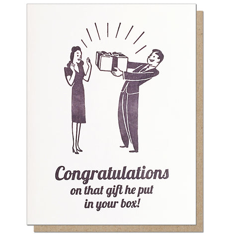 Gift in your Box. Letterpress Pregnancy Congratulations Card.