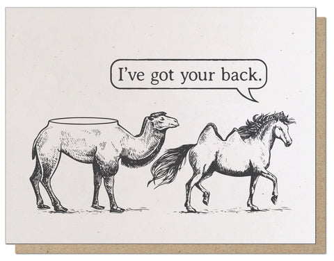I've got your back. Letterpress Everyday Greeting Card.