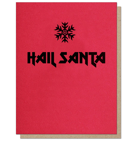 Hail Santa. Heavy Metal Holiday Card.