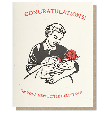 Congratulations on your Hellspawn. Letterpress New Baby Card.