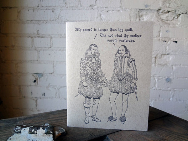 Britches & Hose: Sword vs. Quill Letterpress Card